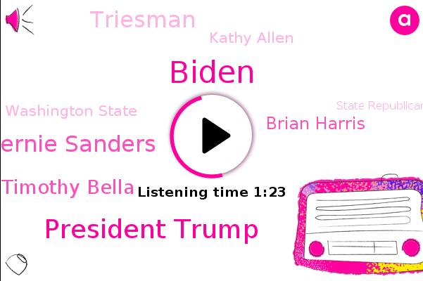 Biden,President Trump,Bernie Sanders,Triesman Veil,Bernie Timothy Bella,The Washington Post,Vice President,Washington,North Carolina,Washington State,State Republican Party,Brian Harris,Reddit,Triesman,Kathy Allen,Canada,Chairman,Secret Service