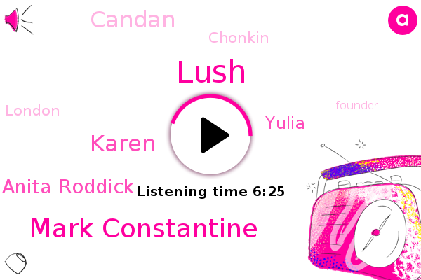 Lush,Mark Constantine,London,Founder,Candan,Karen,Anita Roddick,Africa,Chonkin,Weymouth Seaside,Yulia,UK,England,United States,Australia