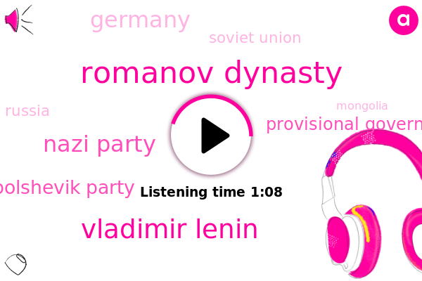 Romanov Dynasty,Soviet Union,Nazi Party,Bolshevik Party,Vladimir Lenin,Provisional Government,Germany,Russia,Mongolia,Soviet Republic