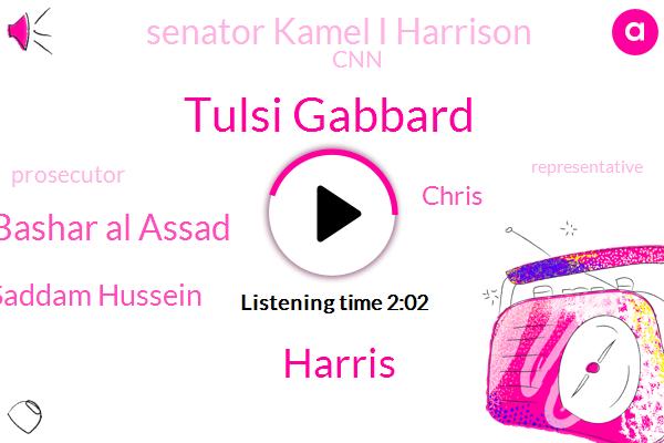 Tulsi Gabbard,Harris,Prosecutor,Bashar Al Assad,CNN,Saddam Hussein,Libya,Chris,Senator Kamel I Harrison,Representative