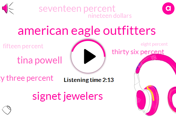 American Eagle Outfitters,Signet Jewelers,Tina Powell,Seventy Three Percent,Thirty Six Percent,Seventeen Percent,Nineteen Dollars,Fifteen Percent,Eight Percent,Seven Percent,Three Percent,Four Percent,Ten Dollars,Two Percent,Ten Years