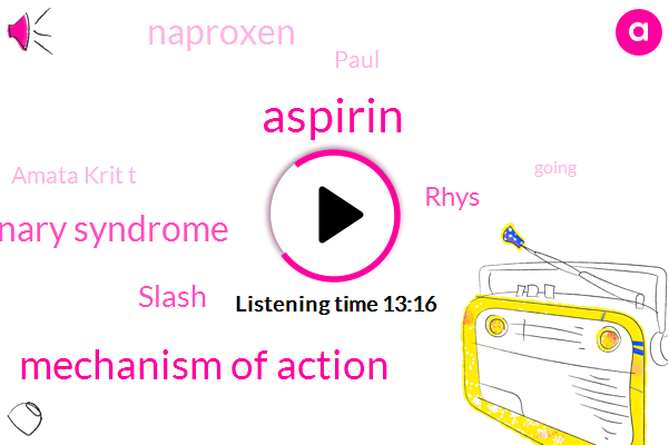 Aspirin,Mechanism Of Action,Acute Coronary Syndrome,Slash,Rhys,Naproxen,Paul,Amata Krit T,Vity,Litz,JAY,Cl- Integral Presa,COX,Seven Days,Ten Days,Ten Day