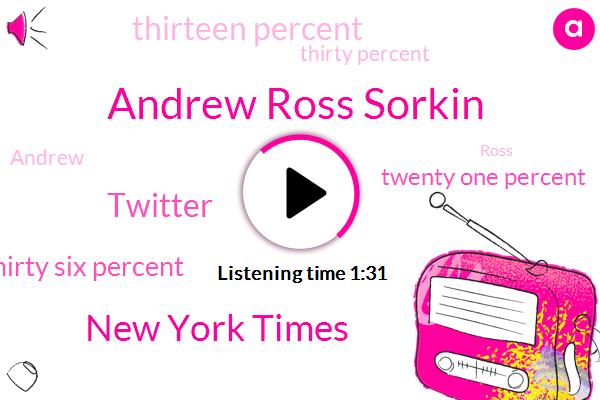 Andrew Ross Sorkin,New York Times,Twitter,Thirty Six Percent,Twenty One Percent,Thirteen Percent,Thirty Percent