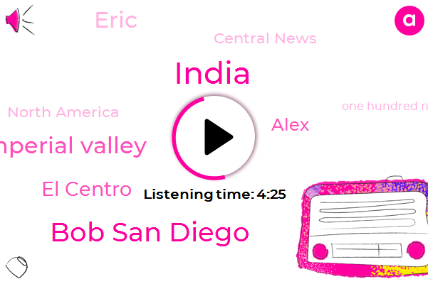 Bob San Diego,India,El Centro Imperial Valley,El Centro,Alex,Eric,Central News,North America,One Hundred Nineteen Degrees,One Hundred Twenty Degrees,Hundred Nineteen Degrees,Nineteen Degrees,Hundred Years