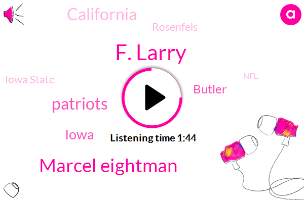 F. Larry,Marcel Eightman,Patriots,Butler,Iowa,California,Rosenfels,Iowa State,NFL,Waxman,Gary,Raiders,KNB,Attorney,One Hand