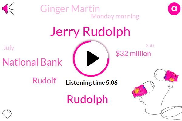 Jerry Rudolph,Rudolph,American National Bank,Rudolf,$32 Million,Ginger Martin,Monday Morning,July,250,Second Round,Cherry,Around $30 Million,Next Week,TWO,Second Time,This Week,A Year Ago,45,Second Draw