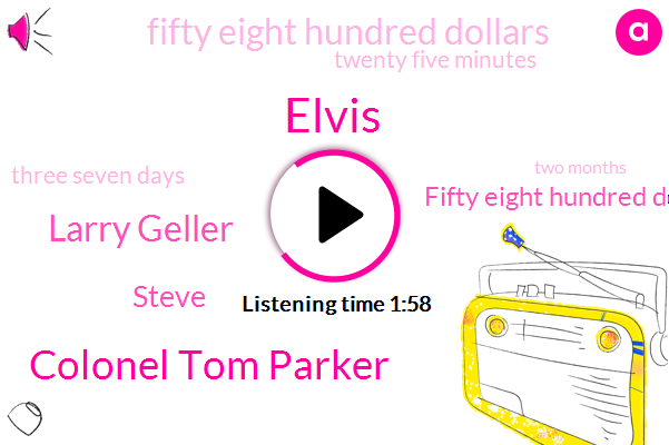 Colonel Tom Parker,Elvis,Larry Geller,Steve,Fifty Eight Hundred Dollars,Twenty Five Minutes,Three Seven Days,Two Months