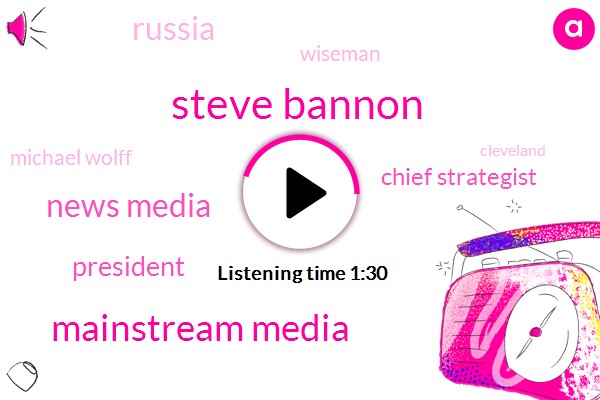 Steve Bannon,Mainstream Media,News Media,President Trump,Chief Strategist,Russia,Wiseman,Michael Wolff,Cleveland,Shakespeare,Ten Minutes