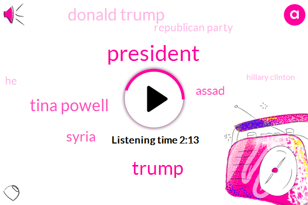 President Trump,Tina Powell,Syria,Assad,Donald Trump,Republican Party,Hillary Clinton,Congress,Steve Bannon,Senate,Muller