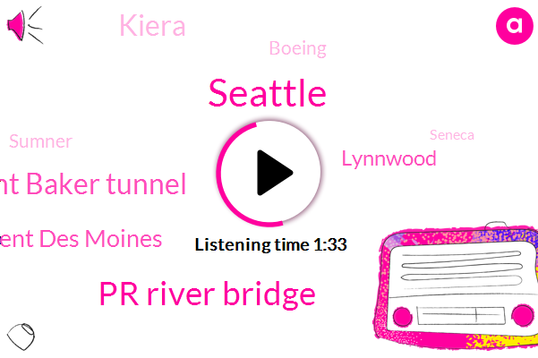 Seattle,Komo,Pr River Bridge,Mount Baker Tunnel,Kent Des Moines,Lynnwood,Kiera,Boeing,Sumner,Seneca,Canton,Auburn,Forty Four Degrees,Twenty Four Hour,Ten Minutes