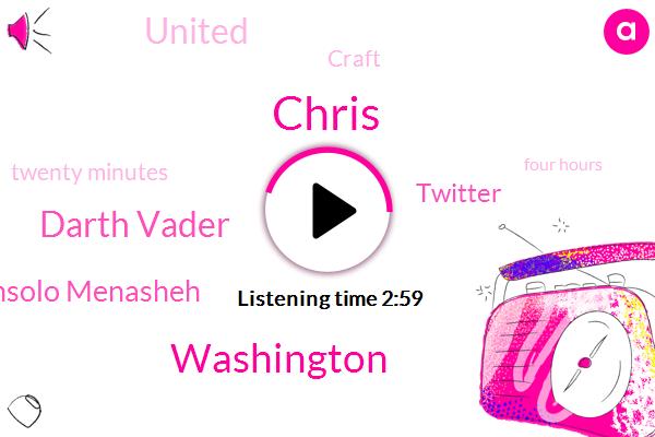Chris,Washington,Darth Vader,Consolo Menasheh,Twitter,United,Craft,Twenty Minutes,Four Hours,One Day