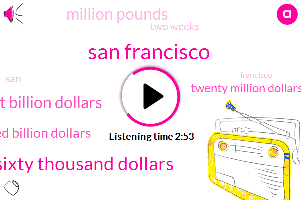 San Francisco,Six Hundred Sixty Thousand Dollars,Twenty Eight Billion Dollars,Two Hundred Billion Dollars,Twenty Million Dollars,Million Pounds,Two Weeks