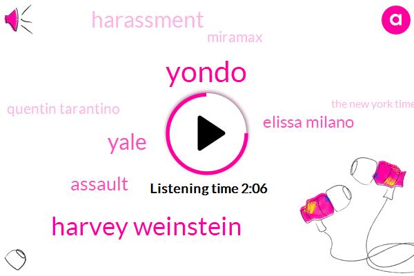 Yondo,Harvey Weinstein,Yale,Assault,Elissa Milano,Harassment,Miramax,Quentin Tarantino,The New York Times,Mira Sorvino,Producer,Director,Twelve Years