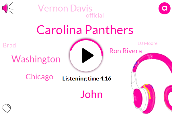 Carolina Panthers,John,Washington,Chicago,Ron Rivera,Vernon Davis,Official,Brad,Dj Moore,Brian,DJ,Football,Twenty Five Yards,Five Minutes,Six Seconds,Three Yard
