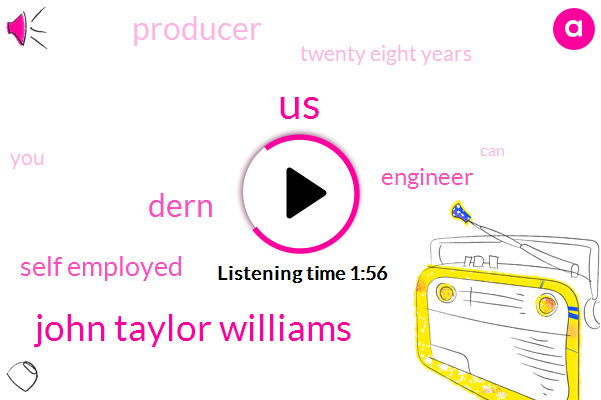 United States,John Taylor Williams,Dern,Self Employed,Engineer,Producer,Twenty Eight Years