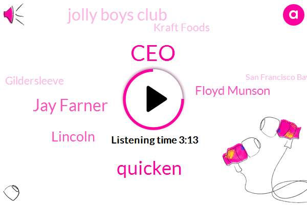 CEO,Quicken,Jay Farner,Lincoln,Floyd Munson,Jolly Boys Club,Kraft Foods,Gildersleeve,San Francisco Bay,America,Perry,Skokie,Wheaton,TOM,Commissioner,Uniontown,Molly,Mcgee,Chicago