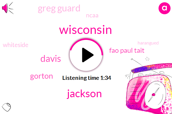 Wisconsin,Jackson,Davis,Gorton,Fao Paul Tait,Greg Guard,Ncaa,Whiteside,Harangued,Michigan,Six Eleven Two Hundred Forty Five Pounds,Thirty Seven Seconds