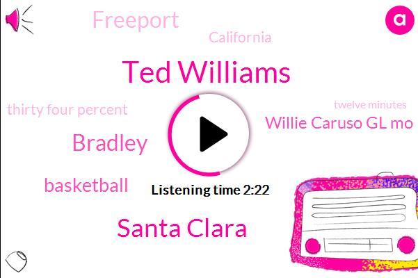 Ted Williams,Santa Clara,Bradley,Basketball,Willie Caruso Gl Mo,Freeport,California,Thirty Four Percent,Twelve Minutes