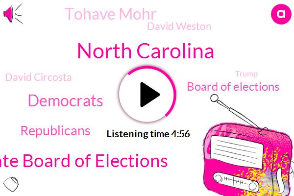 North Carolina,North Carolina State Board Of Elections,Democrats,Republicans,Board Of Elections,Tohave Mohr,Bloomberg,David Weston,David Circosta,Donald Trump,Republican Party,President Trump,Perjury,Official