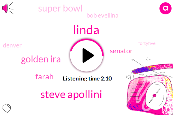 Linda,Steve Apollini,Golden Ira,Farah,Senator,Super Bowl,Bob Evellina,Denver,Fortyfive,Twenty Five Dollars,Twenty Dollars,100Hour