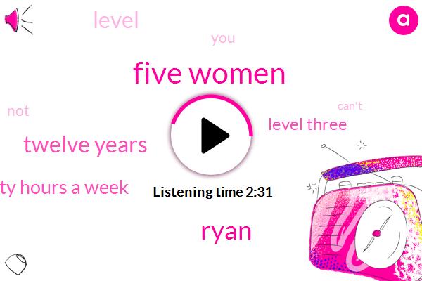 Five Women,Ryan,Twelve Years,Eighty Hours A Week,Level Three,Level,Four