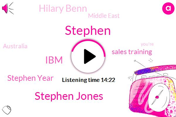 Stephen Jones,IBM,Stephen Year,Stephen,Sales Training,Hilary Benn,Middle East,Australia,Stephen Goons,Doan,Canada,UK,Frank Friends,Salesman,Dallas,Nego