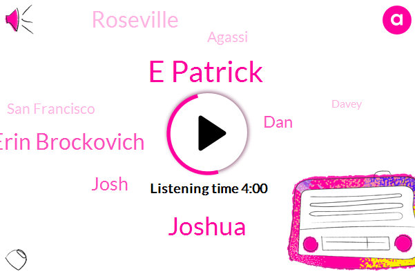 E Patrick,Joshua,Erin Brockovich,Josh,DAN,Roseville,Agassi,San Francisco,Davey,CEO,Murder,Sigler,California,Sacramento,Fifty Percent