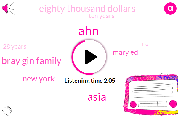 AHN,Asia,Bray Gin Family,New York,Mary Ed,Eighty Thousand Dollars,Ten Years,28 Years