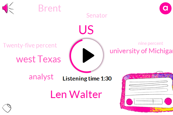 United States,Len Walter,West Texas,Analyst,University Of Michigan,Brent,Senator,Twenty-Five Percent,Nine Percent,Two Days