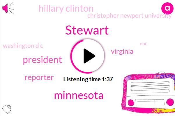 Stewart,Minnesota,President Trump,Reporter,Virginia,Hillary Clinton,Christopher Newport University,Washington D C,NBC,Vice President,GOP,Scientist,Washington
