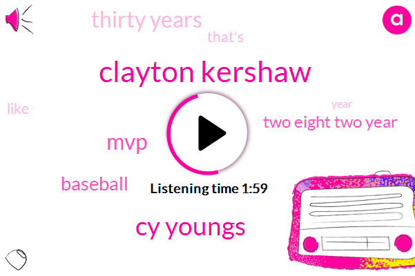 Clayton Kershaw,Cy Youngs,MVP,Baseball,Two Eight Two Year,Thirty Years