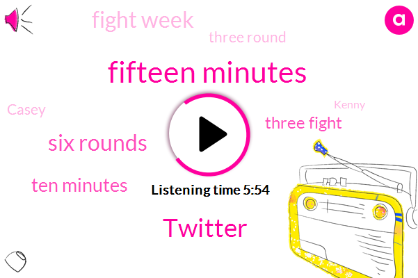 Fifteen Minutes,Twitter,Six Rounds,Ten Minutes,Three Fight,Three,Fight Week,Three Round,ONE,Casey,Kenny,Two Thousand,Each Style,May Junkie,One Fight,Five Four Rounds,UFC,Single Time,Sixteen Pro,Bantamweight Championship