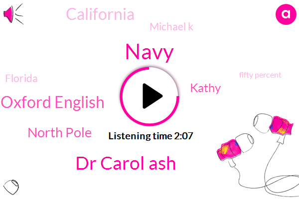 Navy,Dr Carol Ash,Oxford English,Newsradio,North Pole,Kathy,California,Michael K,Florida,Fifty Percent,Forty Percent