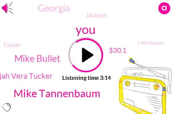 Mike Tannenbaum,Mike Bullet,Elijah Vera Tucker,$30.1,Georgia,Jackson,Tucker,1 800 Flowers,Giants,Tomorrow,BOB,Two Players,Tonight,Today,Six Spots,Mother's Day,30,Espn,Barton