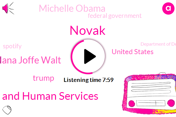 Novak,Department Of Health And Human Services,Hana Joffe Walt,Donald Trump,United States,Michelle Obama,Federal Government,Spotify,Department Of Defence,FDA,Astra Zeneca,Johnson,Scott,Sarah Caney,New York Times Company,Congress,Mr Giving,Cyril Productions
