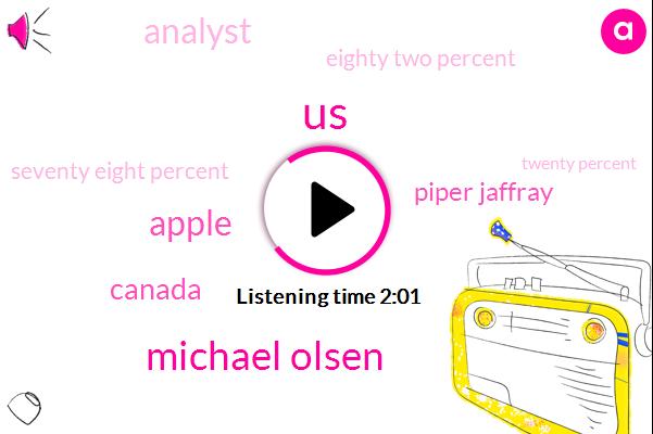 United States,Michael Olsen,Apple,Canada,Piper Jaffray,Analyst,Eighty Two Percent,Seventy Eight Percent,Twenty Percent