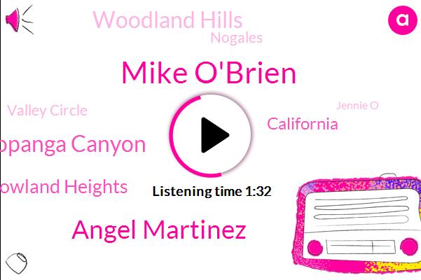 Mike O'brien,Angel Martinez,Topanga Canyon,Rowland Heights,California,Woodland Hills,Nogales,Valley Circle,Jennie O,Chino,Attorney