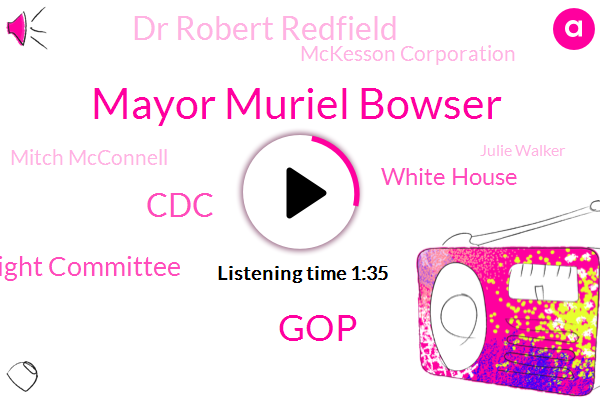 Mayor Muriel Bowser,GOP,CDC,House Oversight Committee,White House,Dr Robert Redfield,Mckesson Corporation,Mitch Mcconnell,Julie Walker,Thomas Jefferson,Covad,Bob Agnew,Senate,Unemployed,Benjamin Franklin,Postal Service,Director,General Lewis