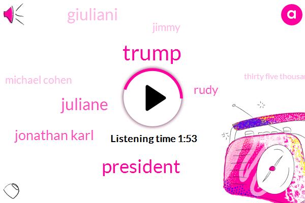 Donald Trump,FOX,President Trump,Juliane,Jonathan Karl,Rudy,Giuliani,Jimmy,Michael Cohen,Thirty Five Thousand Dollars,One Hundred Million Dollars,Ten Days