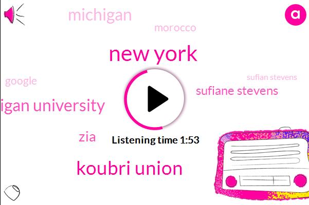 New York,Koubri Union,Western Michigan University,ZIA,Sufiane Stevens,Morocco,Michigan,Google,Sufian Stevens