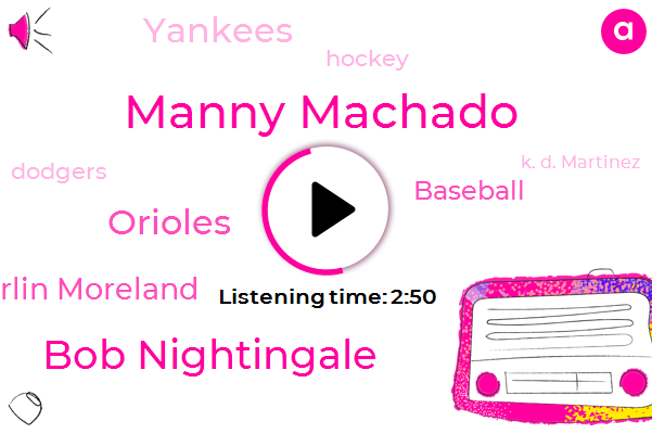 Manny Machado,Bob Nightingale,Orioles,Morlin Moreland,Baseball,Yankees,Hockey,Dodgers,K. D. Martinez,Celtics,Astros,John I,York,Julie,SOX,Brewers,American League,Phillies,Official