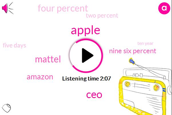 Apple,CEO,Mattel,Amazon,Nine Six Percent,Four Percent,Two Percent,Five Days,Ten Year