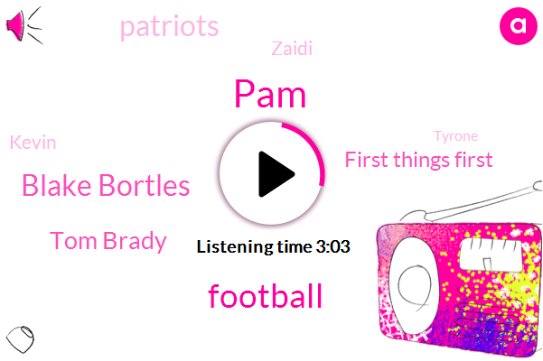 PAM,Football,Blake Bortles,Tom Brady,First Things First,Patriots,Zaidi,Kevin,Tyrone,Vikings,Jaguars,Miami,Ghana,Monty Davis,ABC,Jags,Pats,Three Hundred Seventy Seven Yards,Thirty Four Yards,Twenty Percent