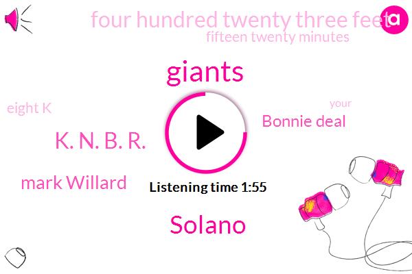 Giants,Solano,K. N. B. R.,Mark Willard,Bonnie Deal,Four Hundred Twenty Three Feet,Fifteen Twenty Minutes,Eight K