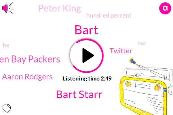 Bart Starr,Bart,Green Bay Packers,Aaron Rodgers,Twitter,Peter King,Hundred Percent