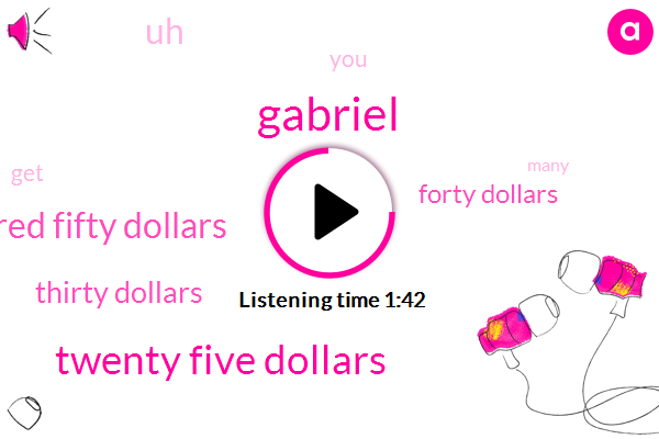 Gabriel,Twenty Five Dollars,Two Hundred Fifty Dollars,Thirty Dollars,Forty Dollars