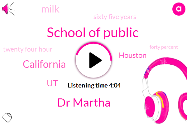 School Of Public,Dr Martha,California,UT,Houston,Milk,Sixty Five Years,Twenty Four Hour,Forty Percent