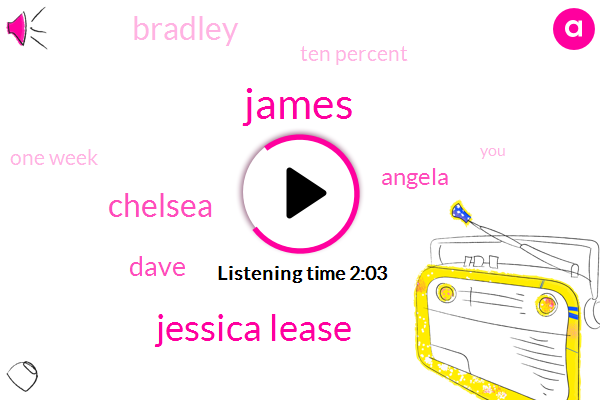James,Jessica Lease,Chelsea,Dave,Angela,Bradley,Ten Percent,One Week