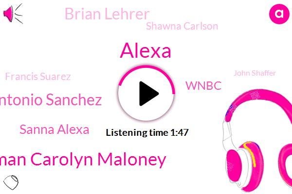 Alexa,Congresswoman Carolyn Maloney,Antonio Sanchez,Sanna Alexa,Wnbc,Brian Lehrer,Shawna Carlson,Francis Suarez,John Shaffer,Thanda Alexis,Miami,General Lewis,Brooklyn,Others