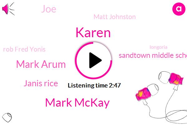 Karen,Mark Mckay,Mark Arum,Janis Rice,Sandtown Middle School,JOE,Matt Johnston,Rob Fred Yonis,Longoria,Neil,Two Days